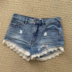 Free people denim short lace trim distressed 25